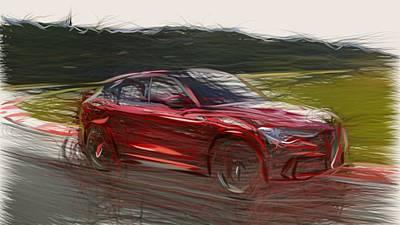 Sheep - Alfa Romeo Stelvio Quadrifoglio Drawing by CarsToon Concept