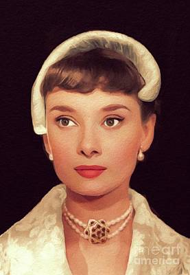 Actors Royalty-Free and Rights-Managed Images - Audrey Hepburn, Vintage Movie Star by John Springfield