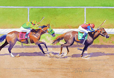 Painting - 8 Chasing 5 At Del Mar by Mary Helmreich