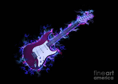 Musicians Drawings Rights Managed Images - Electric Guitar Royalty-Free Image by Ian Mitchell