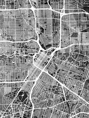 Digital Art - Houston Texas City Street Map by Michael Tompsett