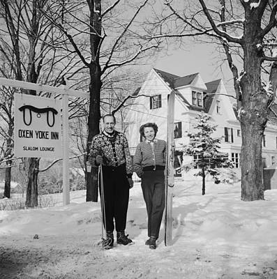 Two People Photograph - New England Skiing by Slim Aarons