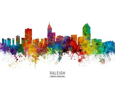 Digital Art - Raleigh North Carolina Skyline by Michael Tompsett