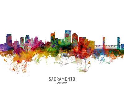 Digital Art - Sacramento California Skyline by Michael Tompsett