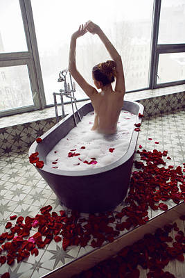 Too Cute For Words - Sexy Beautiful Woman Lies In Stone Bath With Foam by Elena Saulich