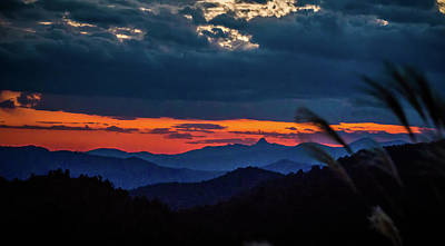 Photograph - Sunset Over Peaks On Blue Ridge Mountains Layers Range by Alex Grichenko