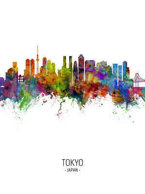 Digital Art - Tokyo Japan Skyline by Michael Tompsett