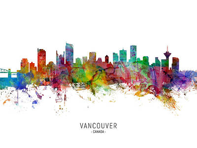 Digital Art - Vancouver Canada Skyline by Michael Tompsett