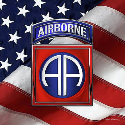 Digital Art - 82nd Airborne Division -  82  A B N  Insignia Over American Flag  by Serge Averbukh