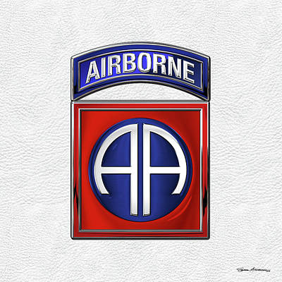 Digital Art - 82nd Airborne Division - 82  A B N  Insignia Over White Leather by Serge Averbukh