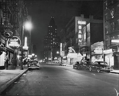 Mode Of Transport Photograph - 8th Street At Night, 1950 by Fred W. McDarrah