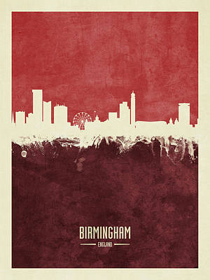 Digital Art - Birmingham England Skyline by Michael Tompsett