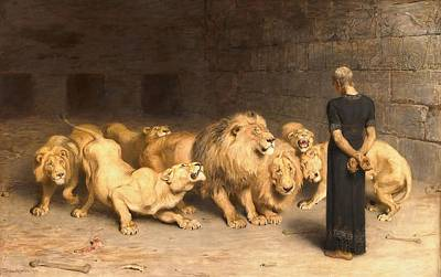Painting - Daniel In The Lion's Den by Briton Riviere