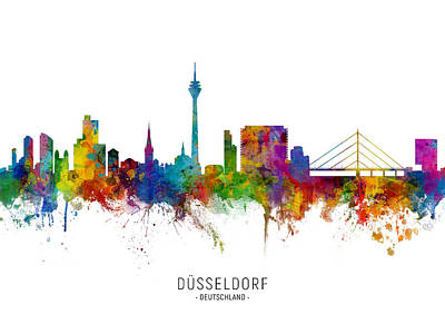 Digital Art - Dusseldorf Germany Skyline by Michael Tompsett