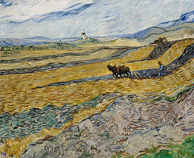 Wheat Painting - Enclosed Field With Ploughman -  by Vincent van Gogh