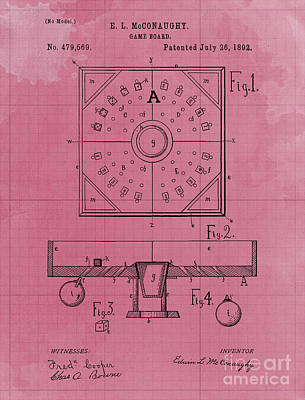 Royalty-Free and Rights-Managed Images - Game Board Vintage Patent Year 1892 Old Artwork Office Decoration by Drawspots Illustrations