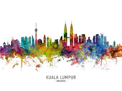 Digital Art - Kuala Lumpur Malaysia Skyline by Michael Tompsett