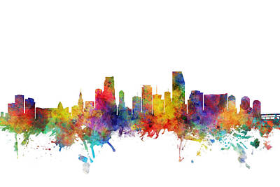 Digital Art - Miami Florida Skyline by Michael Tompsett