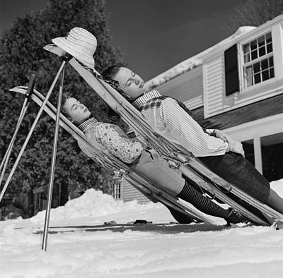 Full Length Photograph - New England Skiing by Slim Aarons