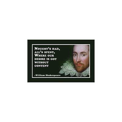 Watercolor Alphabet Rights Managed Images - Noughts had #shakespeare #shakespearequote Royalty-Free Image by TintoDesigns