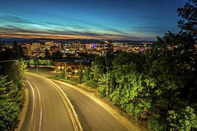 Photograph - Panoramic View Spokane Washington Downtown City Skyline by Alex Grichenko