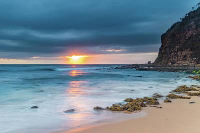 Sunrise Seascape And Cloudy Sky Art Print