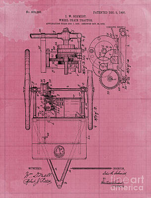 Royalty-Free and Rights-Managed Images - Wheel Chair Tractor Sheet 2 Vintage Art Print Year 1905 Blueprint by Drawspots Illustrations