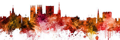 Digital Art - York England Skyline by Michael Tompsett