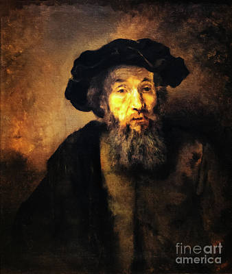 Painting - A Bearded Man In A Cap by Rembrant