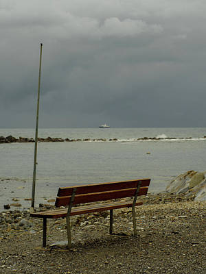 Photograph - A Bench On Which To Expect, By The Sea by Giovanni Bertagna