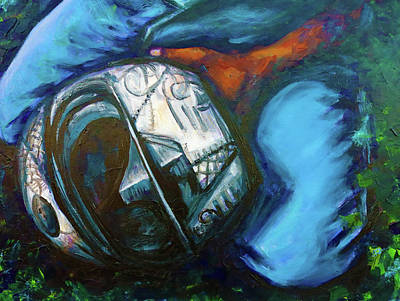 Painting - A Bikers Helmet by Shuanteya Sherman