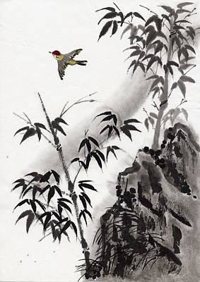 Flying Digital Art - A Bird And Bamboo Leaves, Ink Painting by Daj