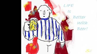 Beer Drawings Royalty Free Images - A Blast Royalty-Free Image by Samuel Zylstra