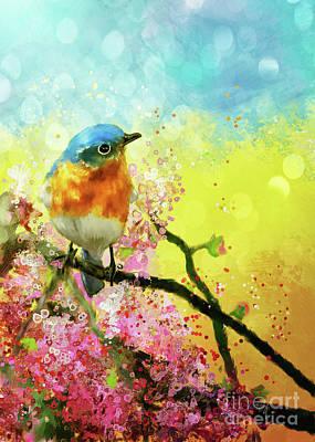 Digital Art - A Bluebird On The Redbud by Lois Bryan