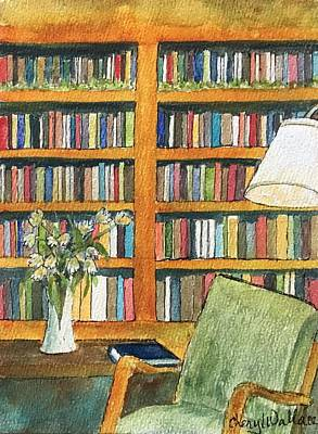 Bookshelf Painting - A Book Is Worth A Thousand Words by Cheryl Wallace
