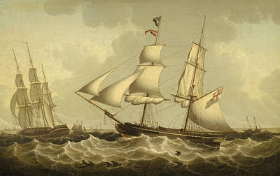 Painting - A British Brig And Frigate, Off The Mouth Of Th Mersey by Robert Salmon