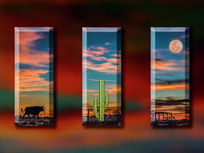 Photograph - A Bull, A Cactus And A Moon by Paul Wear