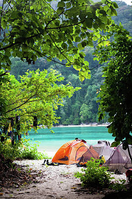 Photograph - A Campsite Set Up On The Beach by Matthew Micah Wright