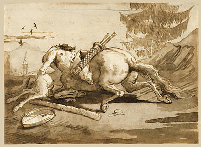 Drawing - A Centaur Embracing A Fauness by Giovanni Domenico Tiepolo