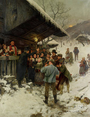 Painting - A Christmas Carol In Lucerne, 1887 by Hans Bachmann
