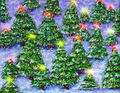 Digital Art - A Christmas Forest by Caroline Street