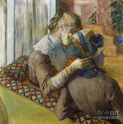 Pastel - A Client Trying A Hat by Edgar Degas