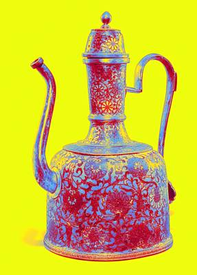 Wine Down - A CLOISONNE  ENAMEL EWER AND COVER Neon art by Ahmet Asar by Ahmet Asar