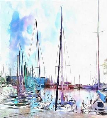 Photograph - A Color Wash Of Boats by Dorothy Berry-Lound