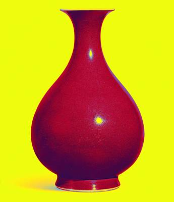 Comedian Drawings - A COPPER-RED GLAZED VASE Neon art by Ahmet Asar by Celestial Images