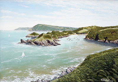 Painting - A Day of Fine Sailing at Watermouth Cove by Mark Woollacott