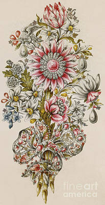 Painting - A Design For A Spray Of Flowers by Italian School
