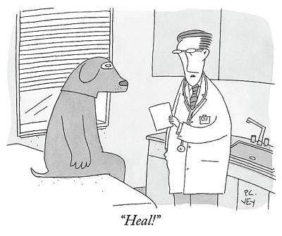 Medical Drawing - A Doctor Speaks To A Man In A Dog Costume Who by Peter C Vey