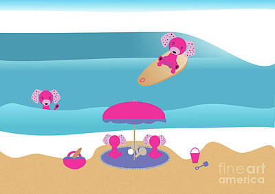 Digital Art - A Dog Family Surf Day Out by Barefoot Bodeez Art