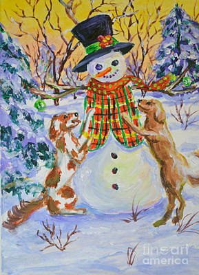 Painting - A Doggies Christmas by Li Newton